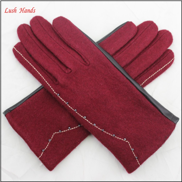 ladies simple red woolen and beautiful women PU hand gloves