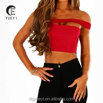 2020 New fashion hot sale ODM and OEM reasonable price fashionable stylish one shoulder crop top sexy women's blouses and tops