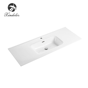 Unique design mini art thin ceramic basin solid surface cabinet one piece bathroom sink and countertop