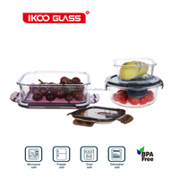 Locked Silicone lid Easy Open Glass Food Container