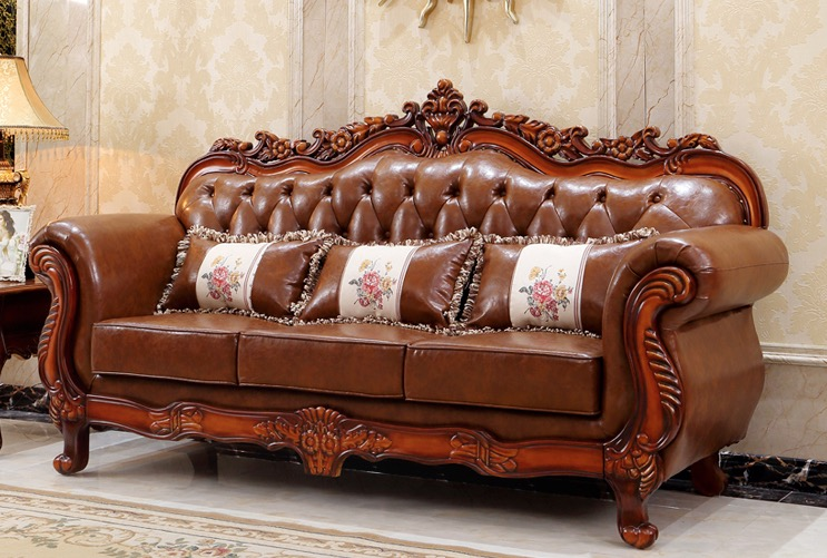 Classic Design Italian Leather Sofa & Loveseat Luxury Living Room Set w/  Wood Accents, View Set Design Sofa, v&p Product Details from Shenzhen ...