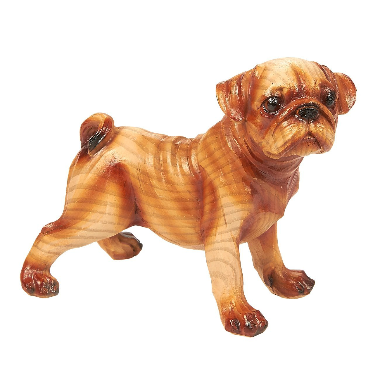 Juvale Pug Puppy Dog Resin Statue - Dog Sculpture, Pet Figurine, Collectible for Indoor, Mantelpiece, Desktop Decoration, Brown - 4.5 x 3.7 x 2.3 inches