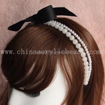 10MM festival bridal round pearl head crowns wedding bead wreath headband  with knot ribbon for hair b1e83d19402