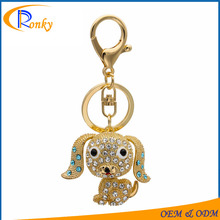 Hot promotional gift 2017 key charms rhinestone metal dog keychains
