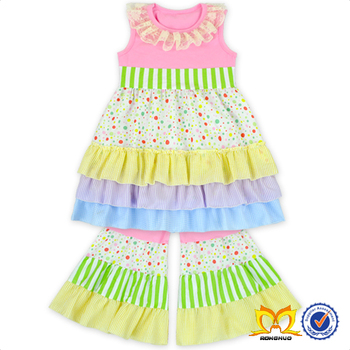 2017 Girls Ruffle Dress And Flare Pant Set Boutique Girl Clothing Baby Clothes Wholesale Price