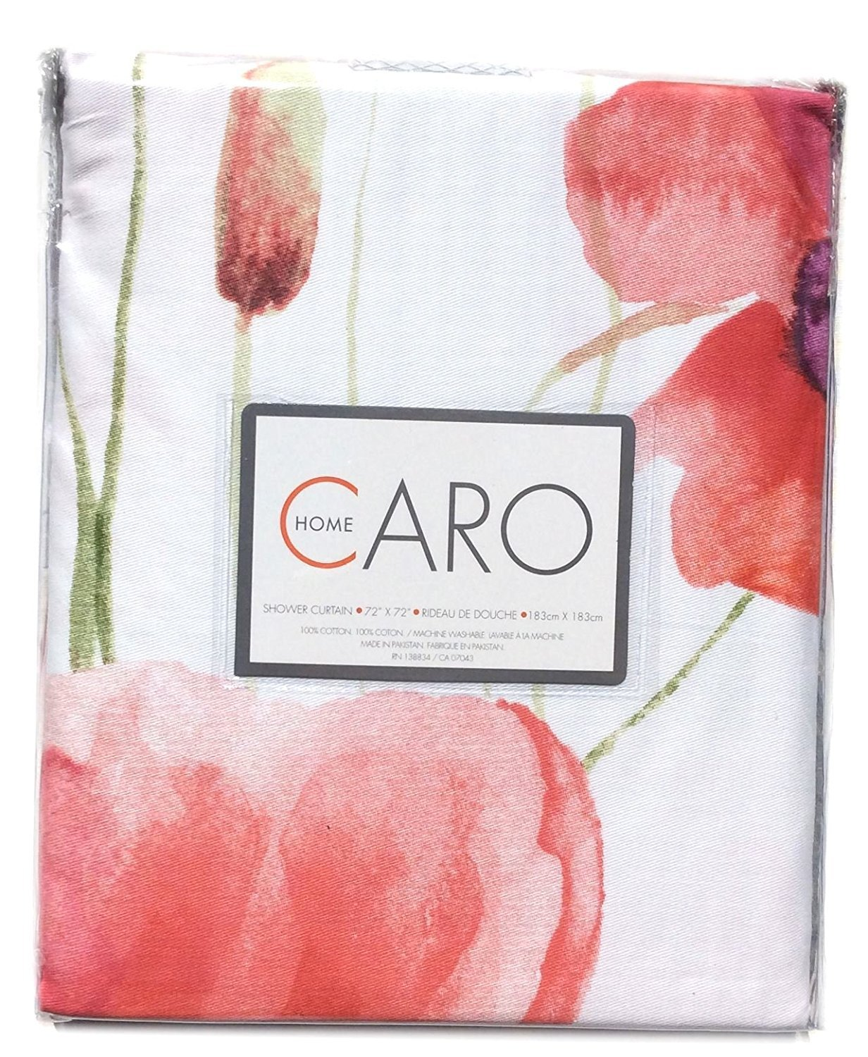 Caro Home Watercolor Poppy Flower Blossom Painting Shower Curtain Red Purple Orange Green Colorful Floral Botanical