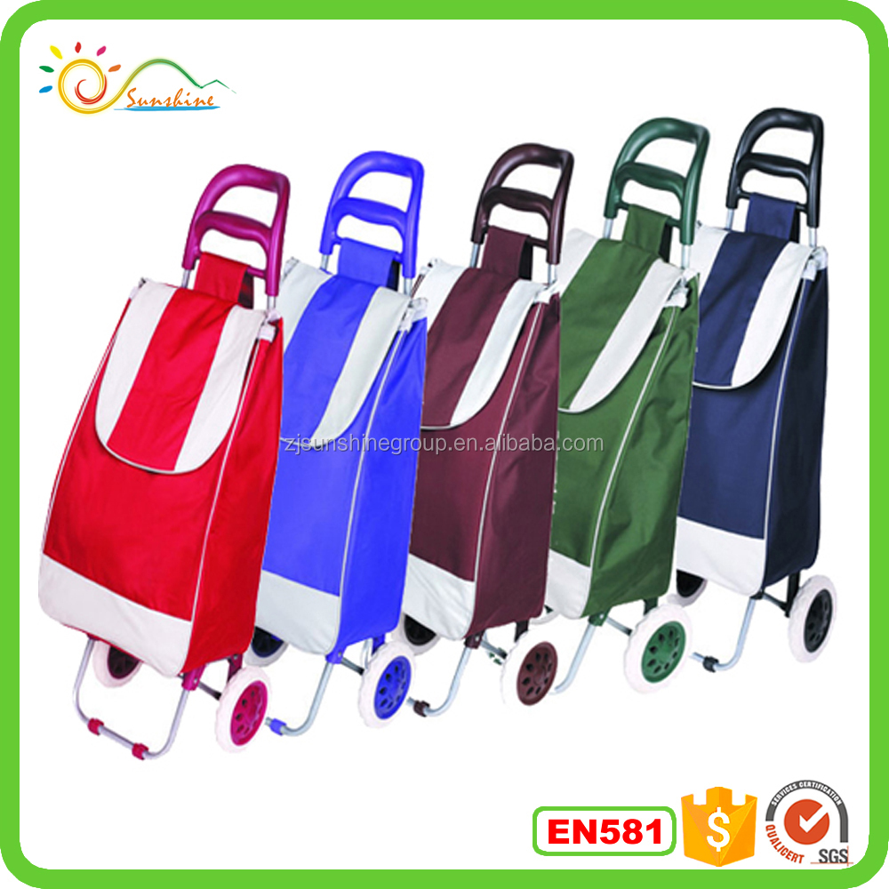 Colorful shopping trolley bag small grocery carts hotsale leisure travel bag for housewife