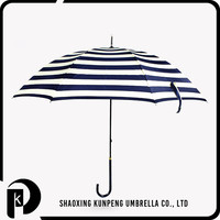 Cheap Custom Print Windproof Big stripe 3 foldable umbrella curve handle rain gear straight umbrella rain straight umbrella