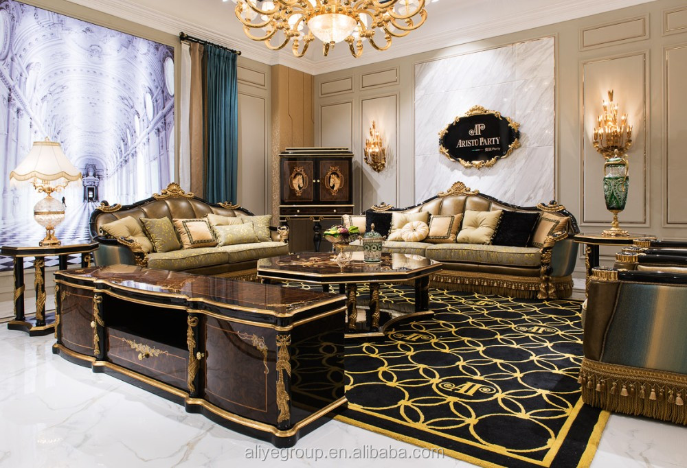 Ti029luxury Black And Gold Victorian Sofa Furniture Sets Buy