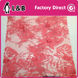 2016 New Design 3D Flower Lace Fabric Embroidered Lace Fabric Design