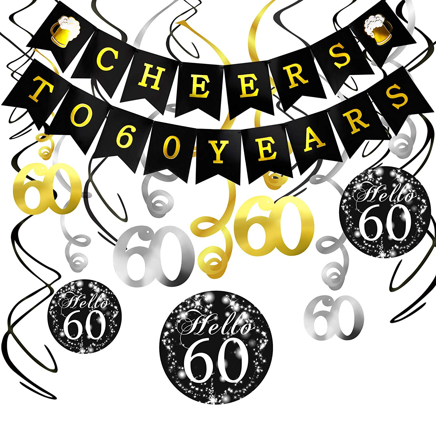 Get Quotations 60th Birthday Decorations Kit Konsait Cheers To 60 Years Banner Swallowtail Bunting Garland Sparkling Celebration