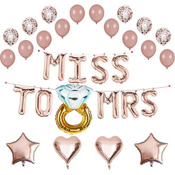 "12 Inch Rose Gold Confetti Latex Balloon and 16 Inch ""Miss To Mrs"" Foil Banner Set With Diamond Ring For Wedding Bachelor Party"