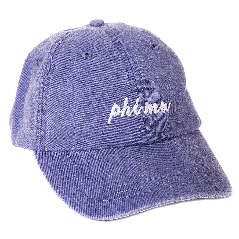 0e6f426167668 Get Quotations · Phi Mu (N) Baseball Hat Cap Cursive Name Font Adjustable  Leather Strap