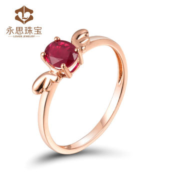 Lovely Angel Design Natural Ruby Solid 18k Rose Gold Jewelry