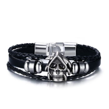 Lucky Vintage Mens Punk Ghost Charm Multilayer Braided Leather Bracelet