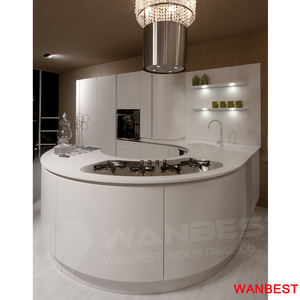 Luxury Artificial Stone White Circle Kitchen Bench Table Wall Cabinet with Wash Basin