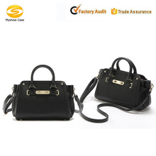 Womens Pure Color Genuine Pu Leather Top Handle Handbag Tote Ladies Bags