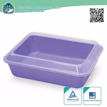 Plastic rectangle Cat litter pan new premium cat litter box with scoop