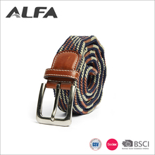 Alfa China Cheap Goods Customized Casual Style Nylon Elastic Braided Belts For Mens