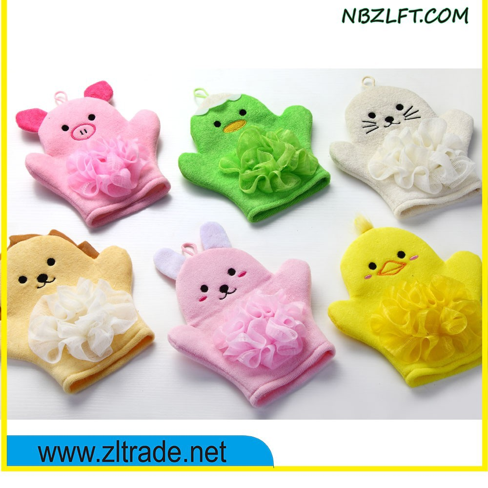 ANIMAL SHAPED BODY WASH BATH MITTEN WITH PUFF
