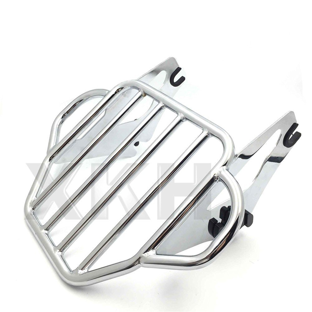 XKH- Motorcycle Chrome King Detachables Two-Up Luggage Rack For 2009-2016 Touring Road King / Street Glide / Road Glide