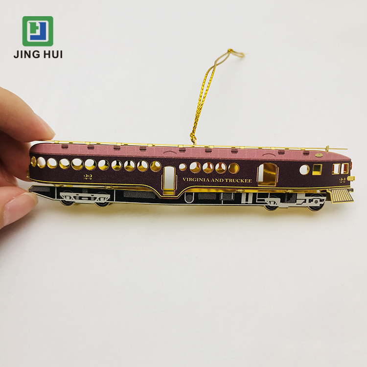 Printed Home Office Decor Metal Railroad Car Ornaments for Hanging