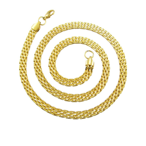 Unisex Stainless Steel PVD Jewelry 18k Gold Plated Mesh Chain Necklace