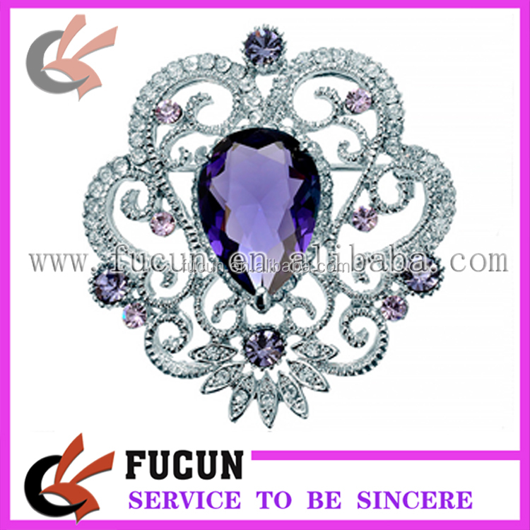 custom fashion jewelry purple rhinestone brooch with pin wedding