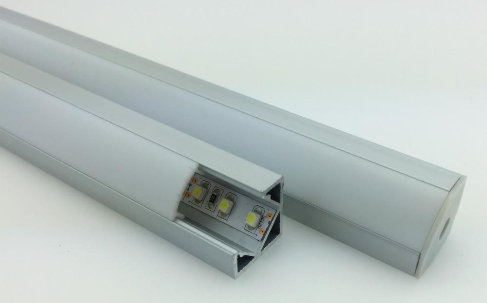 Silver Anodizing 45 Degree Surface Led Aluminum Extruded