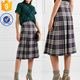 Pleated Checked Wool Midi Skirt OEM/ODM Women Apparel Clothing Garment Wholesaler Ropa Mujer