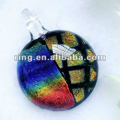 New style Dichroic Foil Murano Glass Circular Pendants