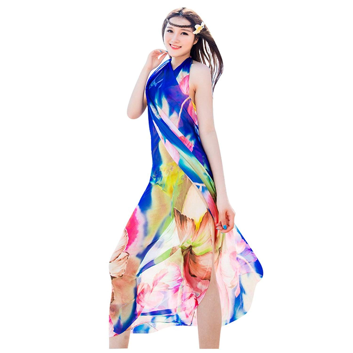 b9f2884354 Get Quotations · GERINLY Chiffon Sarong Wrap: Fresh Zephyranthes Print  Oversize Beach Cover up
