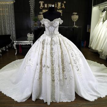 White Puffy Detachable Skirt Wedding Dress With 1.5 M Train - Buy ...