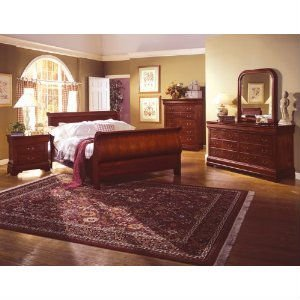 Louis philippe cherry queen size sleigh bed bedroom - Grange louis philippe bedroom furniture ...
