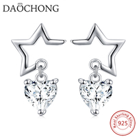 Low Price Pure Silver Jewelry 925 Sterling Silver Dangle Heart Cz Star Stud Earrings for Girls