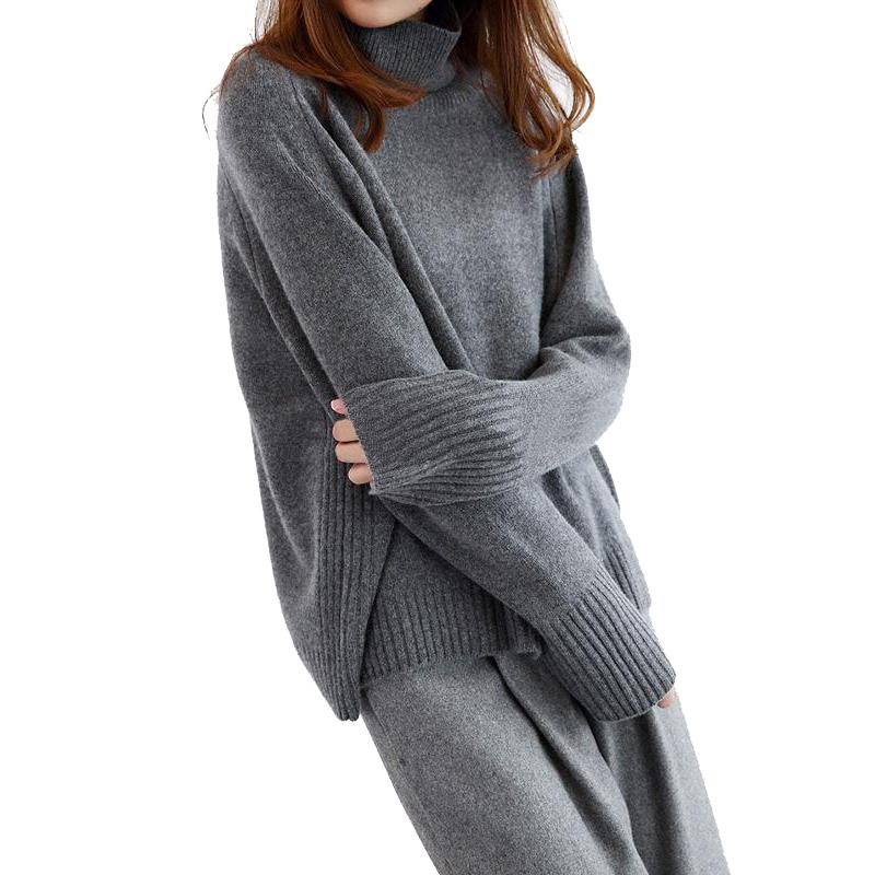 最新の女性の冬グレープルオーバー高襟ニットカシミヤのセーター