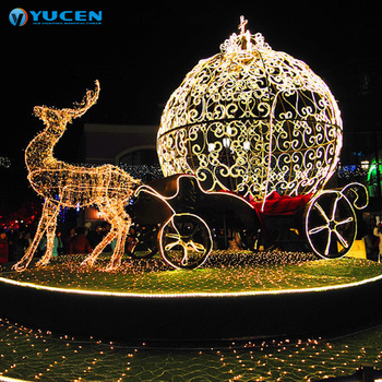 animated outdoor christmas santa claus sleigh reindeer with led light decoration