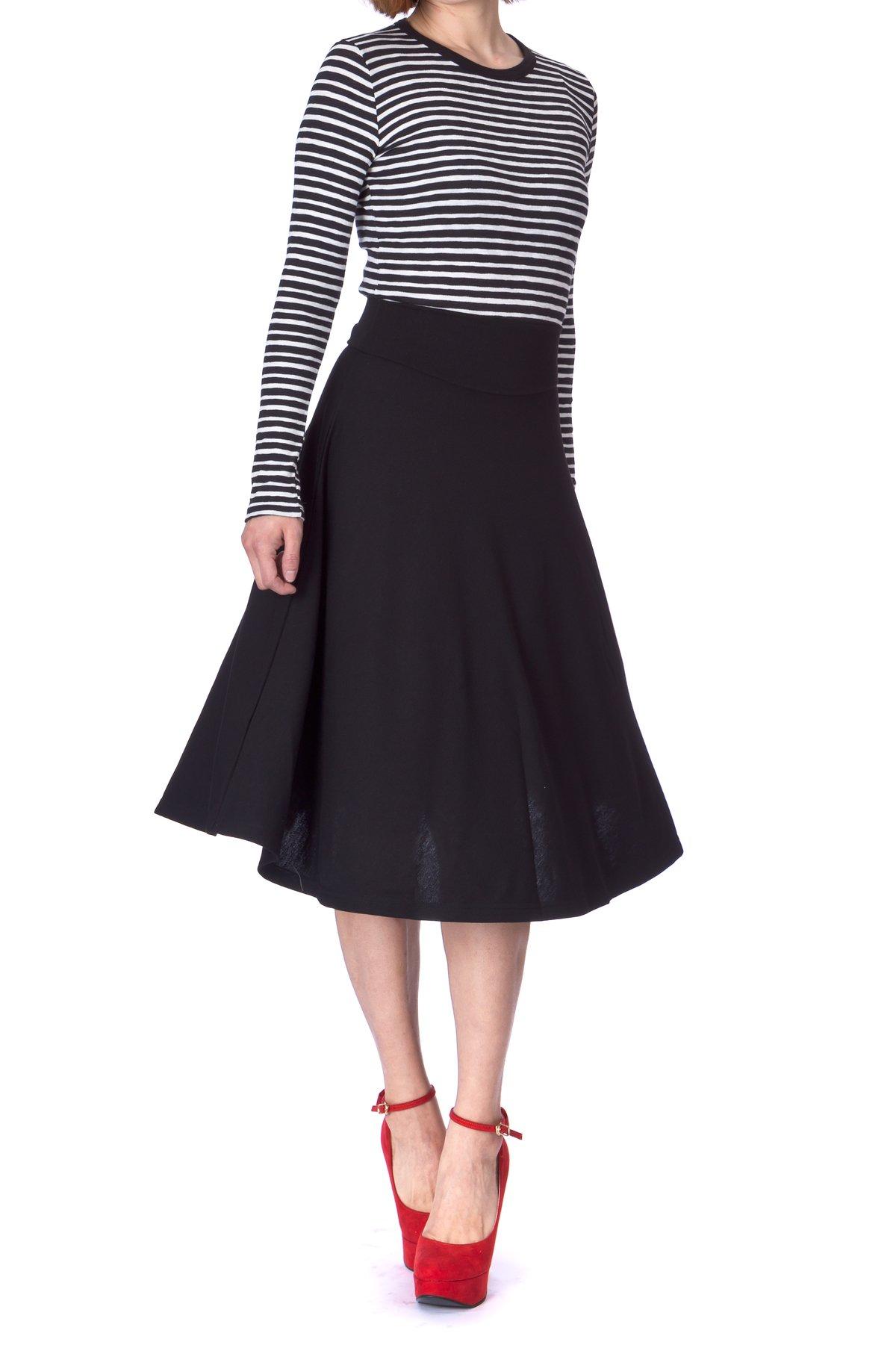 3c3554104b Get Quotations · Dani's Choice Stretch High Waist A-line Flared Long Midi  Skirt