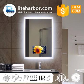 Free Sample Ip44 Waterproof Smart Tv Mirror Hotel Bathroom Magic Led