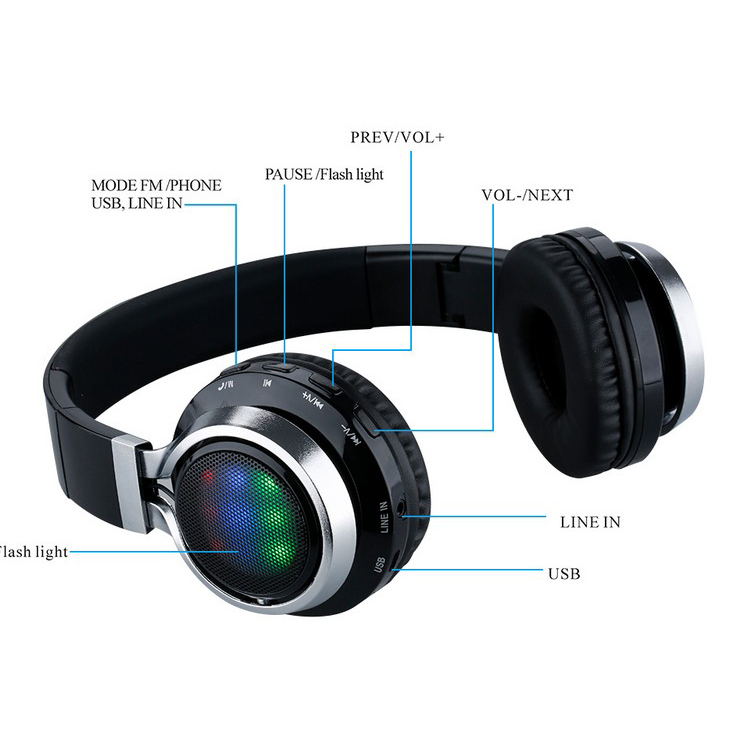 LCD Display HiFi Bass Stereo Wireless Bluetooth Headphone With Microphone, FM Radio, TF Card Slot