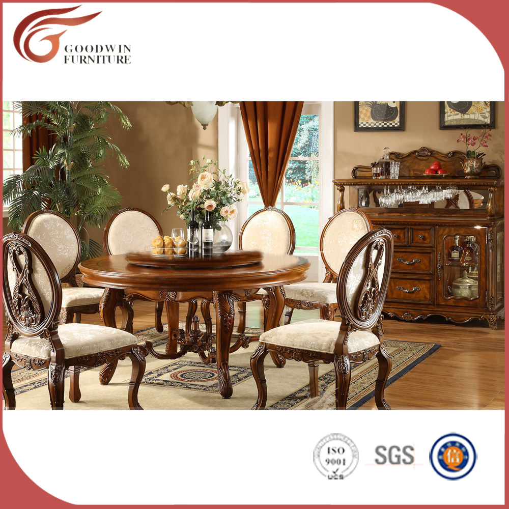 romatic Vitoria queen elegant ivory white solid wood 6 chairs dining table antique rococo dining room furniture set A16