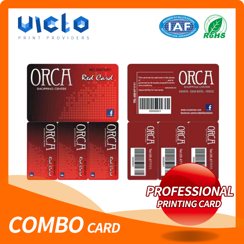 Cheap printing plastic combo card with key tag for membership With ISO9001 Certificate