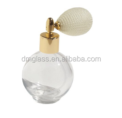 Empty Round Refillable Perfume Bottle with Antique Style Ivory Bulb Spray