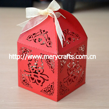 "2016 personalised laser cut ""double happiness"" .China wholesale wedding favor box red"