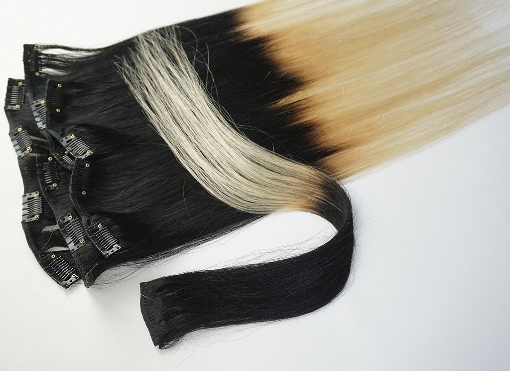 Buy 18 7pcs Clips In Human Hair Extensions Ombre Hair 70gset Woman