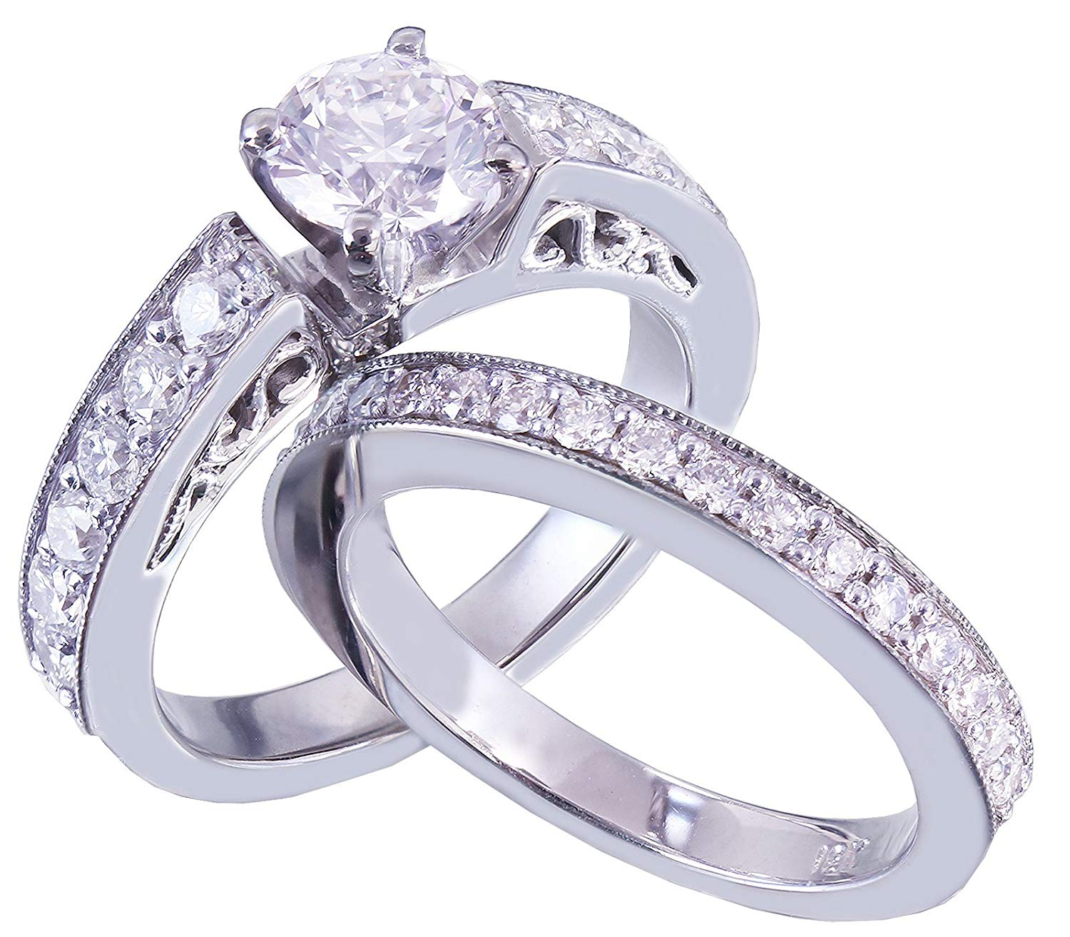 14k White Gold Round Cut Diamond Engagement Ring And Band Art Deco Antique Style 1.35ctw