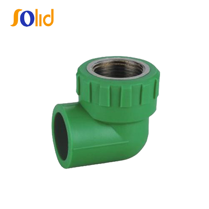 Plastic plumbing materials green ppr pipe 90-degree elbow(Copper Thread)