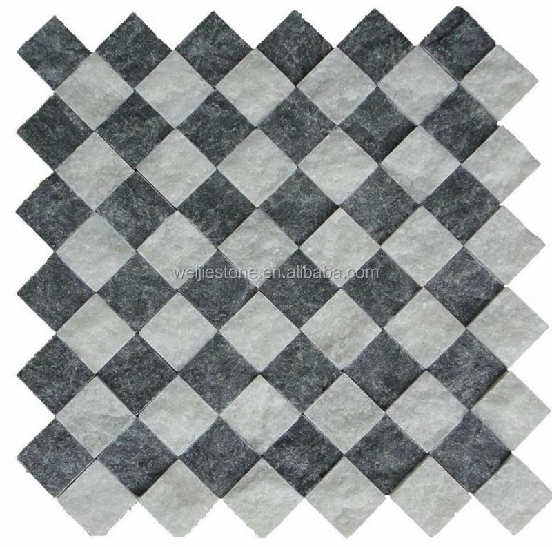 검은 색과 흰색 Backsplash 타일 모자이크 주방 벽,타일 마름모 ...