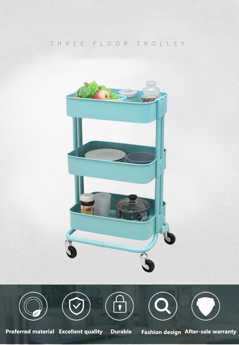 Kitchen Dining Rolling Cart Trolley 3 Storage Shelves Plastic Steel hand cart trolley price kitchen cart trolley