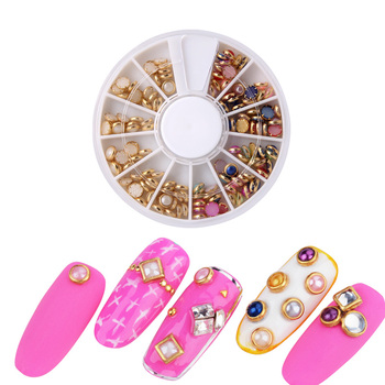 Hot sell Mix color half fashionable Korea white pearl nail stickers 3D design pearl nail art stickers